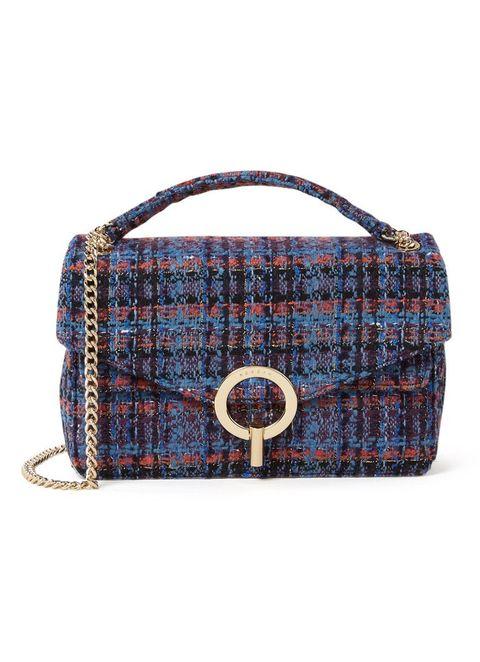 Handbag, Bag, Tartan, Plaid, Fashion accessory, Pattern, Shoulder bag, Design, Leather, Material property,