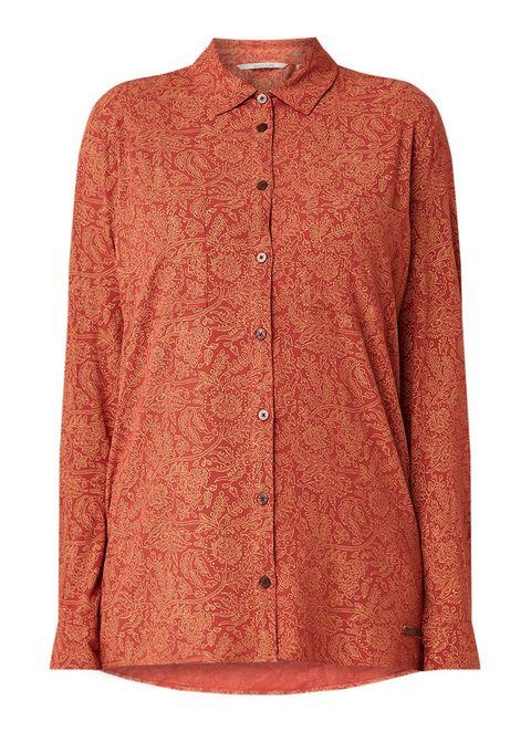 Clothing, Orange, Sleeve, Outerwear, Collar, Shirt, Button, Blouse, Peach, Top,