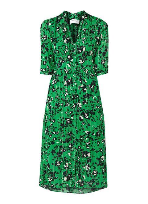 Clothing, Green, Day dress, Dress, Sleeve, Outerwear, Cocktail dress, Pattern,