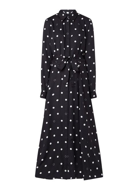 Clothing, Pattern, Polka dot, Dress, Day dress, Sleeve, Outerwear, Design, Coat, Trench coat,
