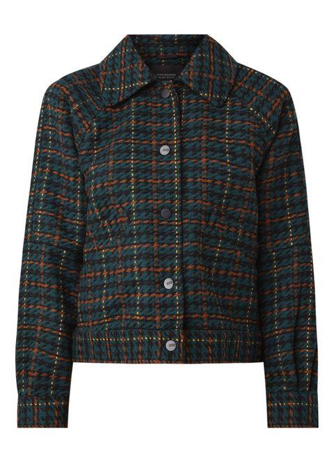 Clothing, Outerwear, Plaid, Tartan, Pattern, Jacket, Sleeve, Brown, Design, Pocket,