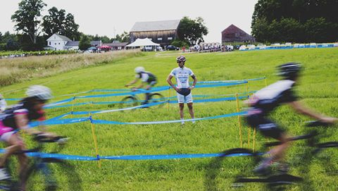 Adam Myerson surveys the riders at his Cycle-Smart Cyclocross Camp.