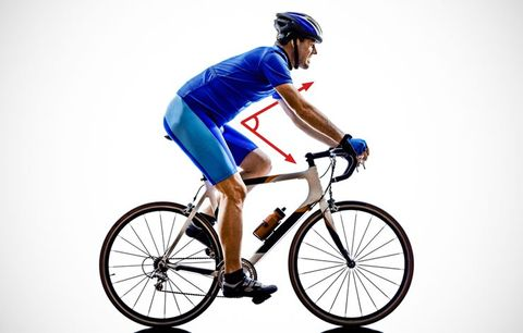 A cyclist and a hip angle depiction.