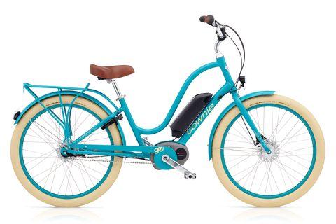 Land vehicle, Bicycle, Bicycle wheel, Bicycle part, Vehicle, Bicycle tire, Bicycle frame, Spoke, Bicycle drivetrain part, Blue,