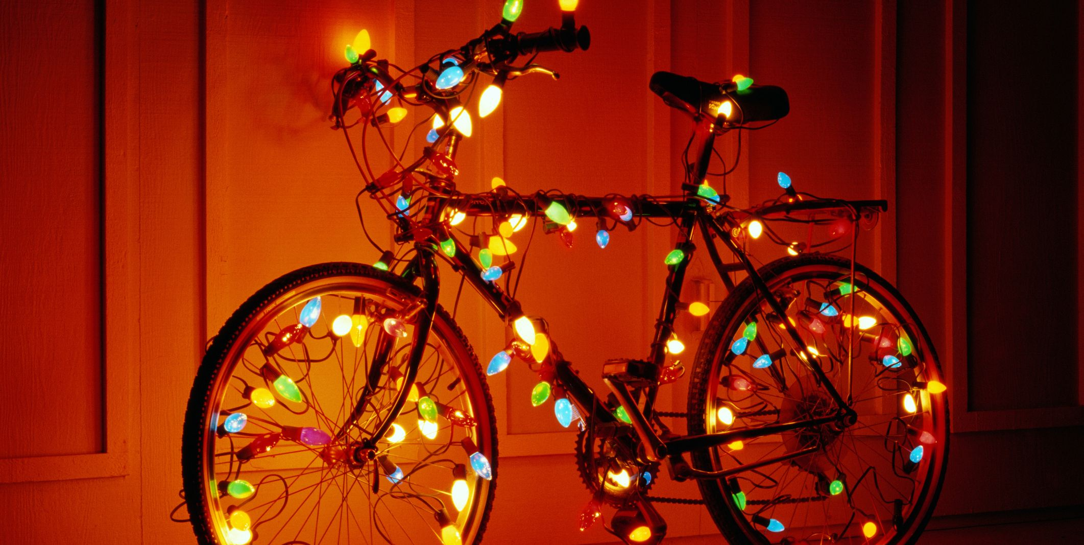 BIKE WRAPPED IN CHRISTMAS LIGHTS
