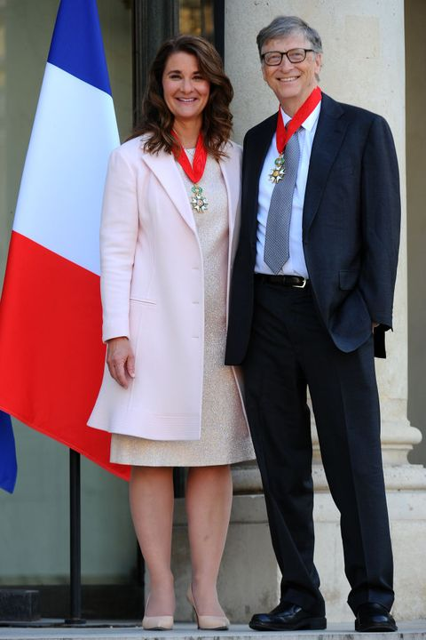 french president receives bill gates, the co founder of the microsoft company at elysee palace