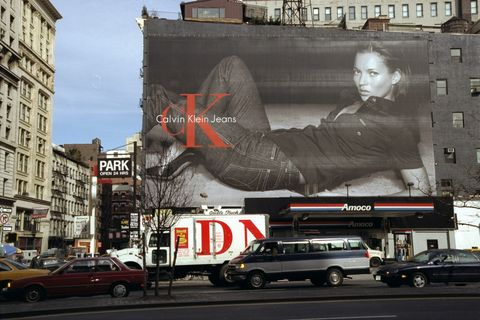 Billboard at Houston St.and Broadway pictures Kate Moss mode