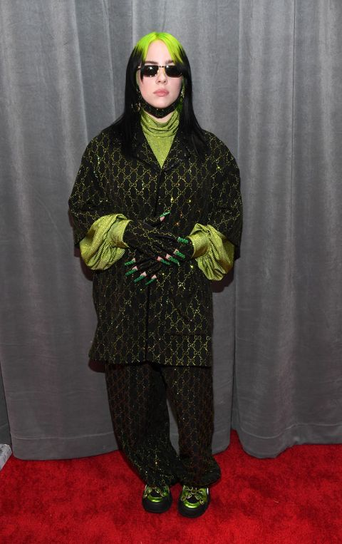 Billie Eilish Matched Her 2020 Grammys Red Carpet Look to Her Slime Green Hair