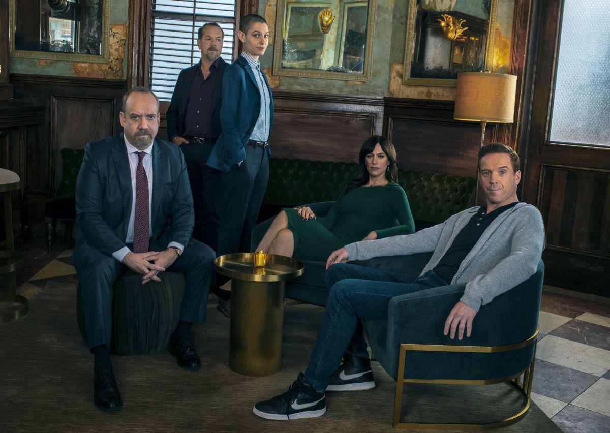 Paul Giamatti, David Costabile, Asia Kate Dillon, Maggie Siff, and Damian Lewis in the new season of Billions .