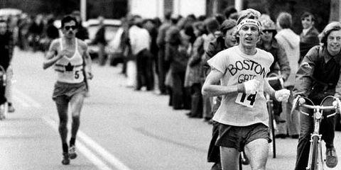 Bill Rodgers running his first Boston Marathon