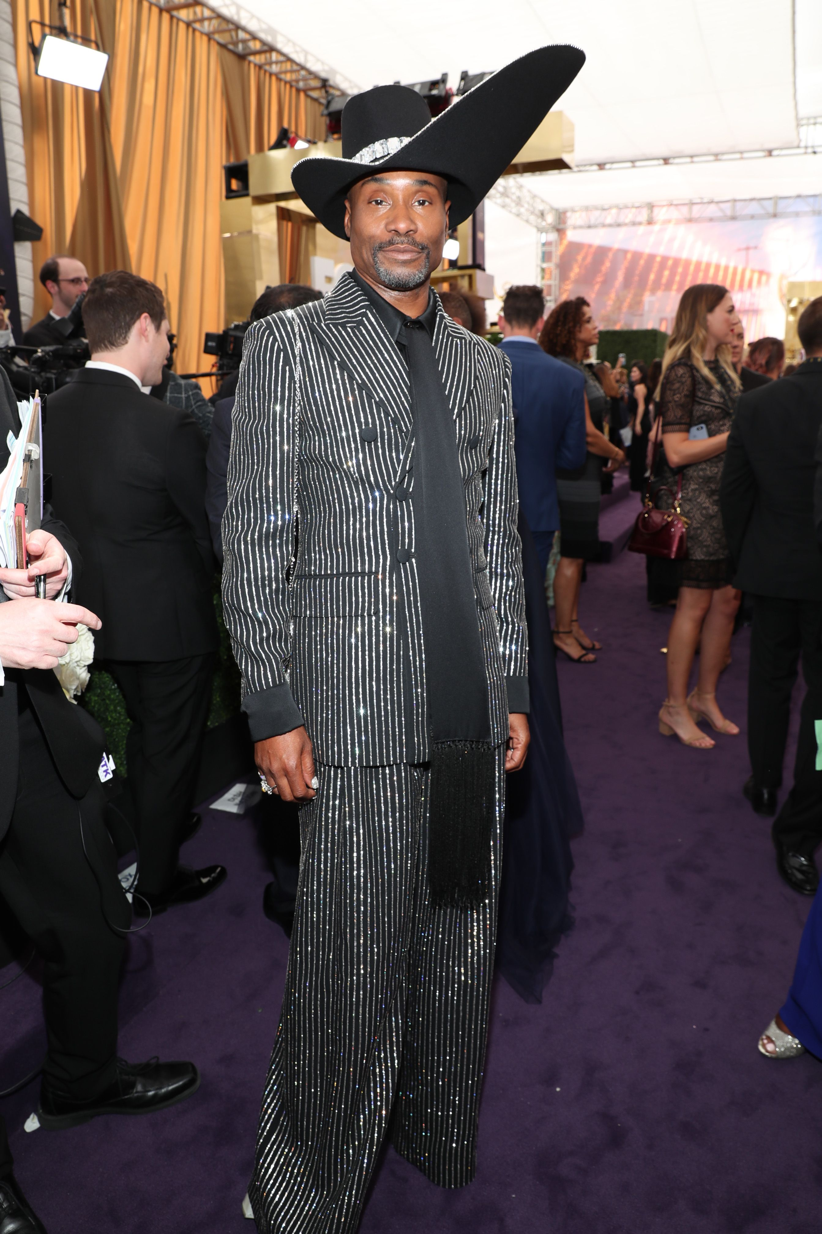 Billy Porter Wears A Striped Suit And The Most Extra Hat To The 2019 Emmys