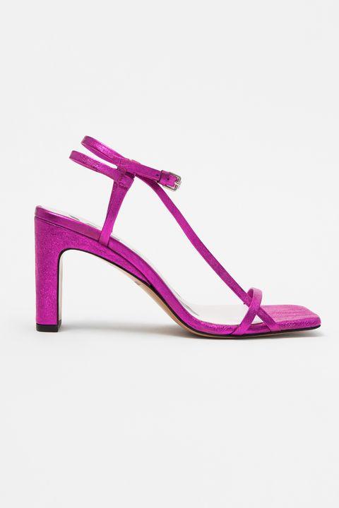 Footwear, Pink, Sandal, Purple, Magenta, Violet, High heels, Shoe, Lilac, Slingback,