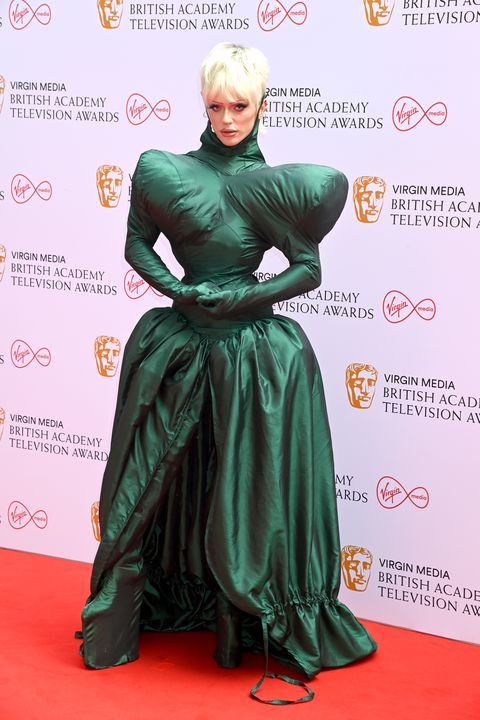 bimini bon boulash wearing green dress at the virgin media british academy television awards 2021