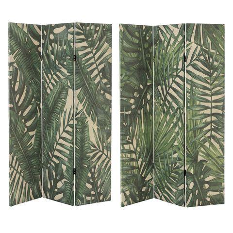 biombo con estructura de madera tapizado en lino, 120x182 cm
