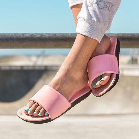 Footwear, Pink, Sandal, Shoe, Ankle, Human leg, Leg, Foot, Toe, Slipper,