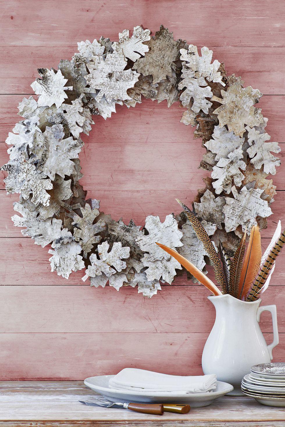 Thanksgiving Crafts Birch Bark Wreath