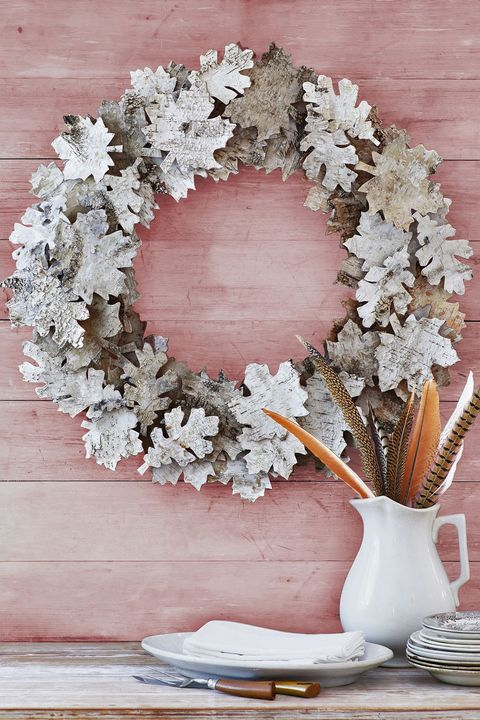 thanksgiving crafts birch bark wreath