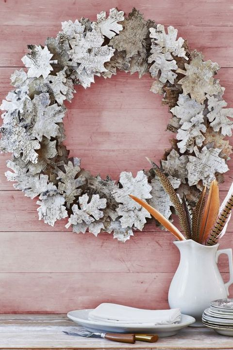 birch leaf wreath craft