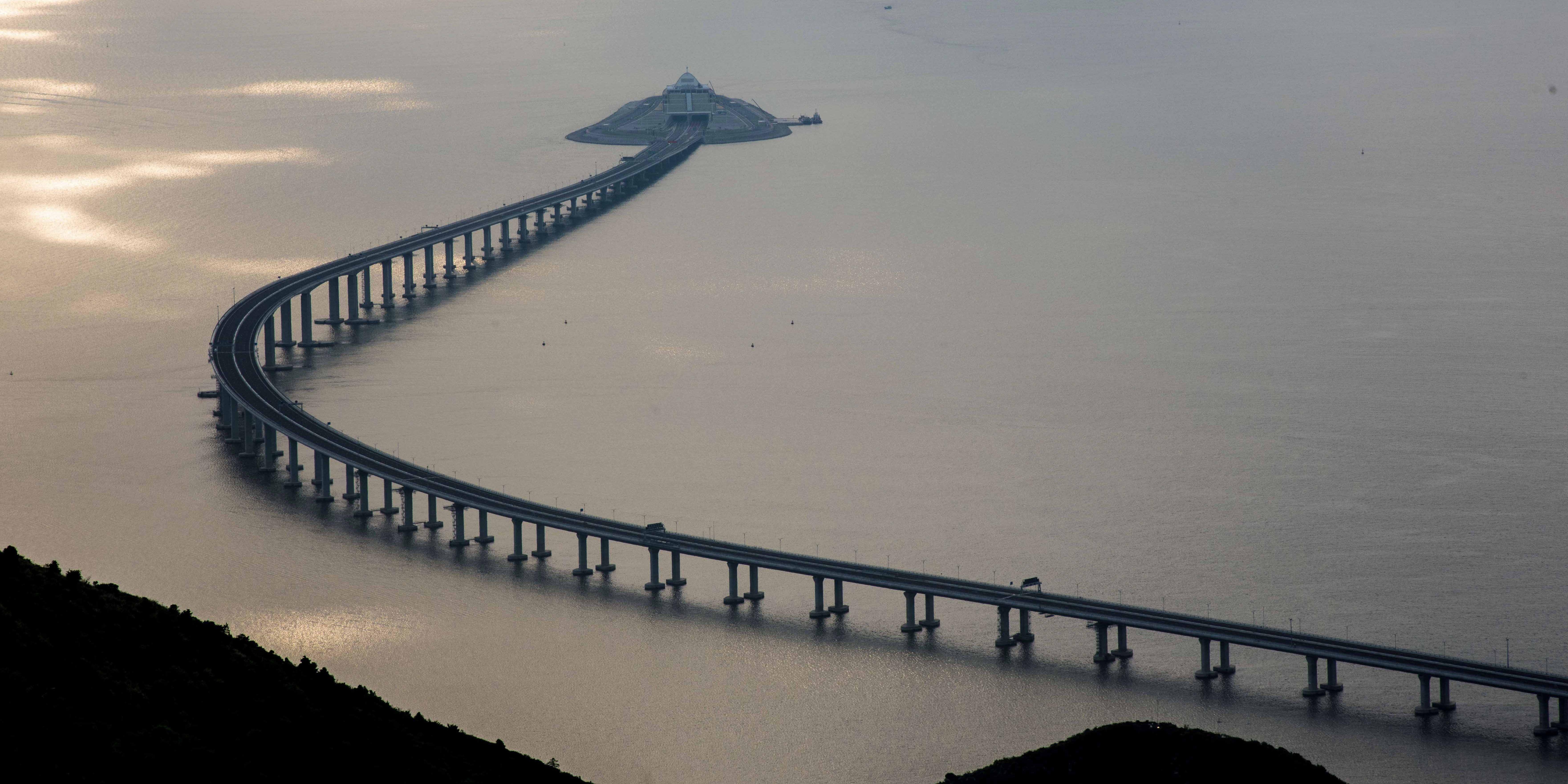 Bird view of Hong Kong-Zhuhai-Macao Bridge