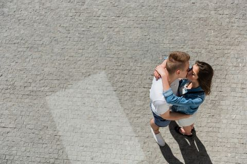 Bird's-eye view of a couple kissing each other