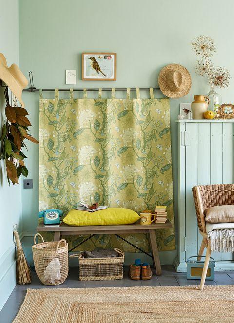 Green, Room, Furniture, Wall, Interior design, Yellow, Living room, Floor, Wallpaper, Design,