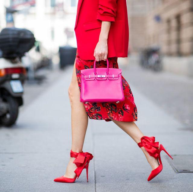 birkin bag roze rood streetstyle