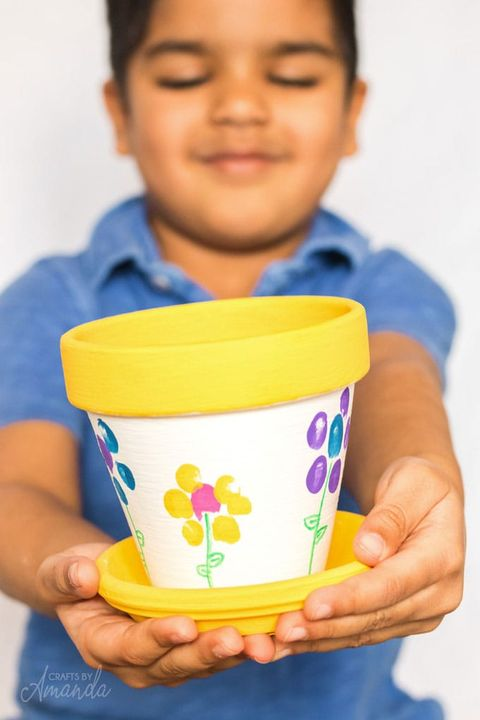 birthday crafts fingerprint flower pot