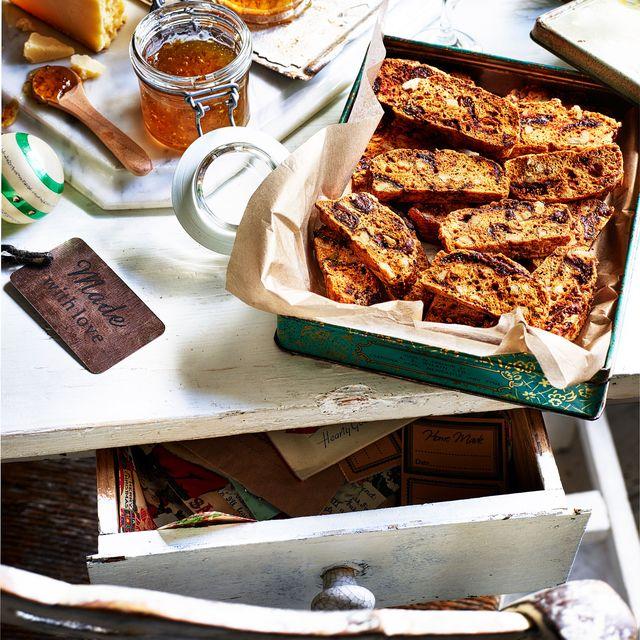 fig, walnut and parmesan biscotti