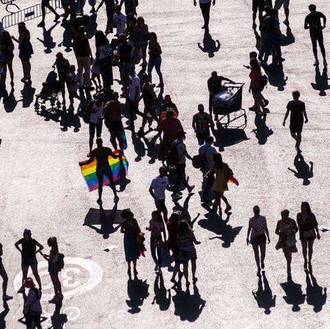 People, Crowd, Pedestrian, Human, Shadow, Marching, Street, Walking, Silhouette, City,