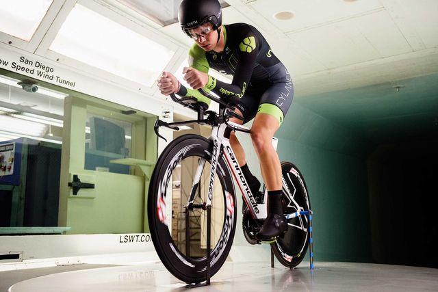 rider in a wind tunnel