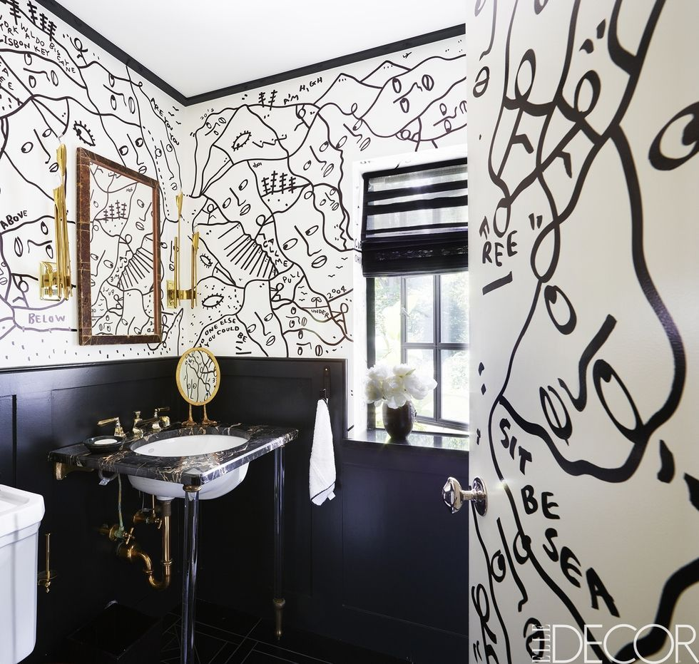 35 black white bathroom design and tile ideas rh elledecor com black and white striped wallpaper for bathroom