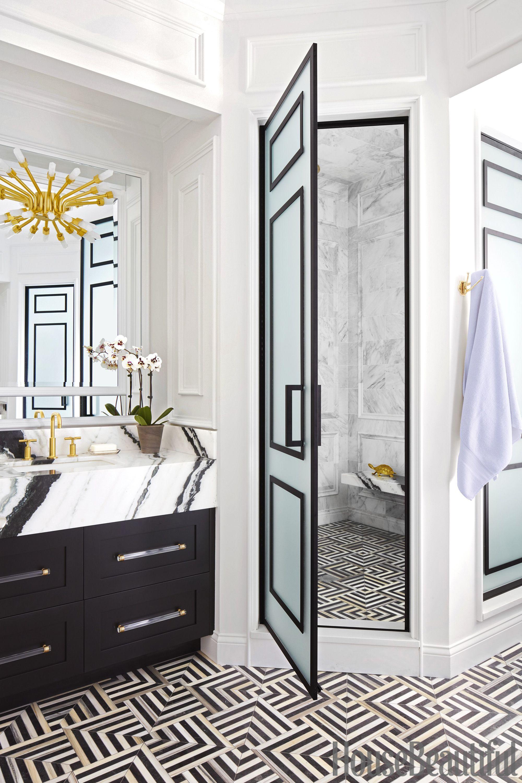 15 black and white bathroom ideas black white tile designs we love rh housebeautiful com white bathroom black vanity bathroom white black grey