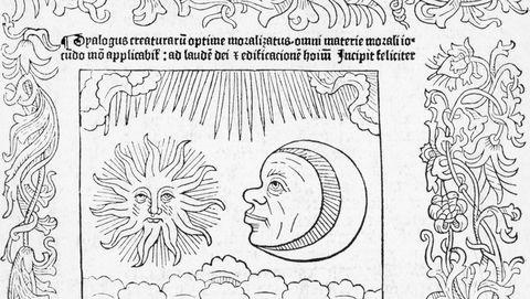 Title Page Of Manuscript W/Moon & Sun