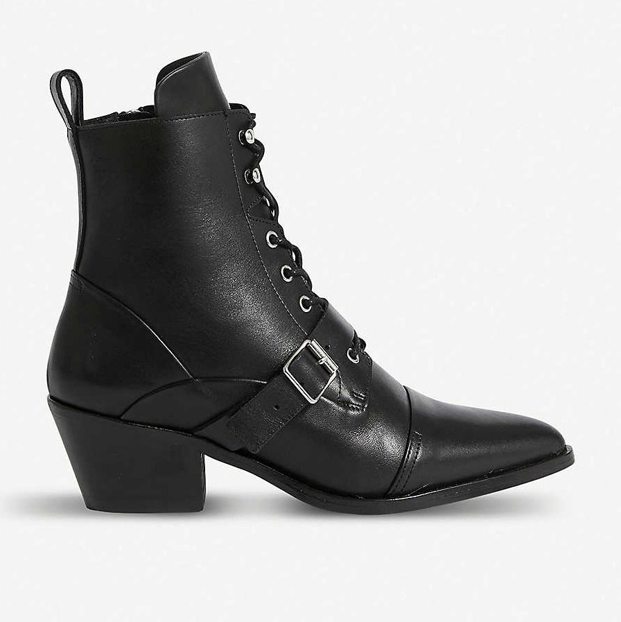 black heeled ankle boots with laces