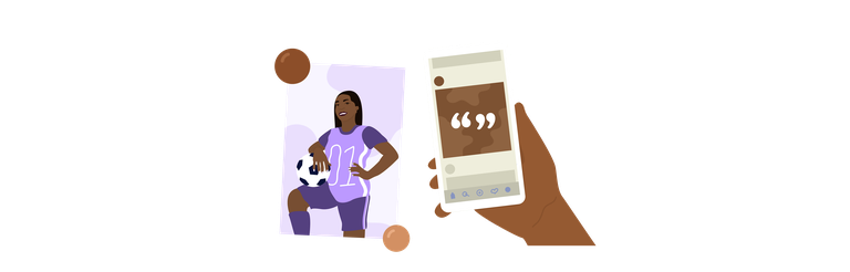 Illustration of student athlete and smart phone