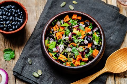 black beans avocado and sweet potato salad