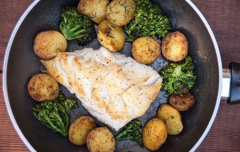 black cod in frying pan
