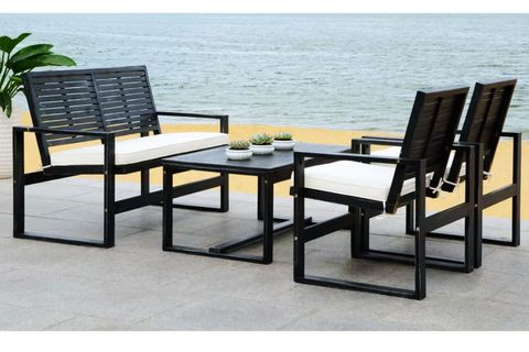 Furniture, Outdoor furniture, Table, Outdoor table, Kitchen & dining room table, Chair, Coffee table, Patio, Armrest, Rectangle,