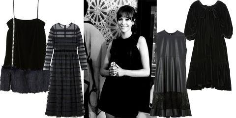 Clothing, Black, Little black dress, Pattern, Dress, Fashion, Tartan, Outerwear, Design, Textile,