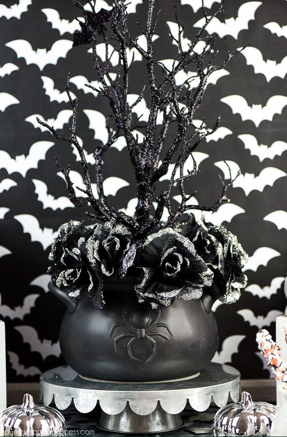 halloween centerpieces spooky black rose arrangement