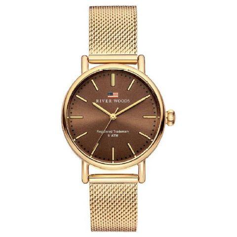 black friday 2020 horloge deals river woods rw340015 oswego horloge vrouwen   goudkleurig   rvs 34