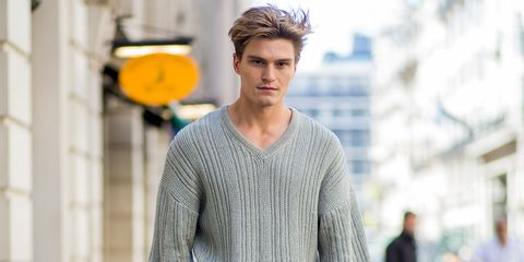 Clothing, Street fashion, Sweater, Neck, Fashion, Outerwear, White-collar worker, Surfer hair, Human, Cool,