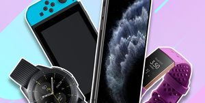 Samsung Galaxy watch, Nintendo Switch, Apple iPhone 11, Fitbit Charge 3