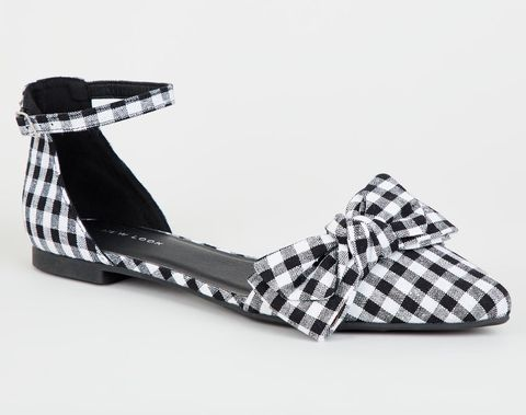 New Look Black Gingham Flats
