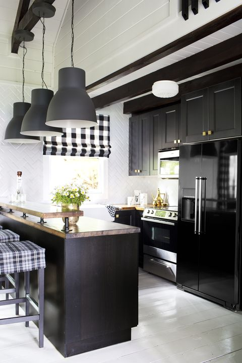 black kitchen cabinets - black plaid.psd