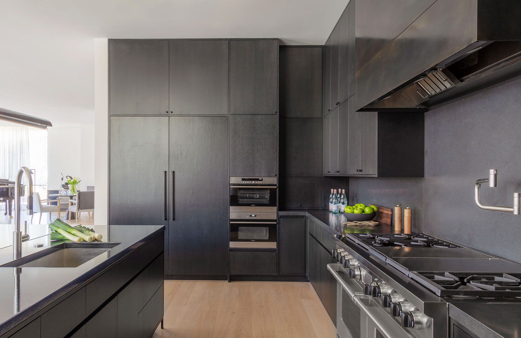 black and gray kitchen cabinets