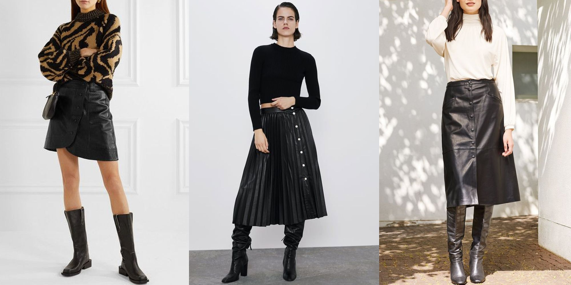 The best black leather skirts to shop now