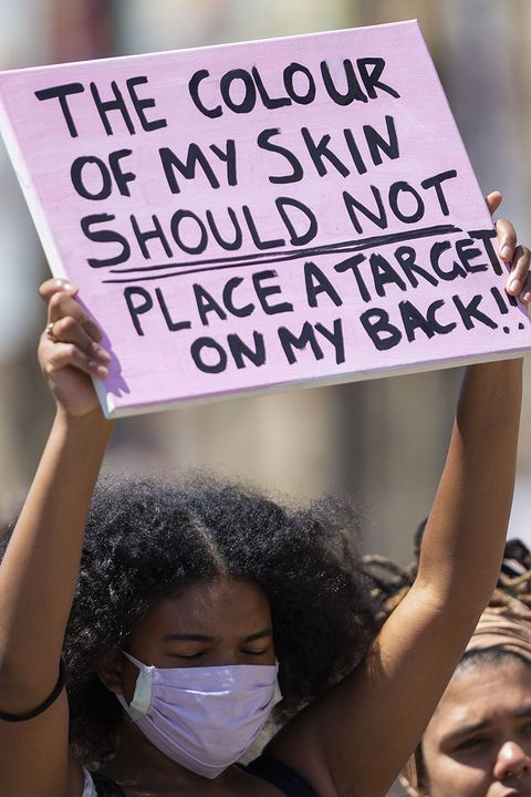 cardiff, wales, united kingdom   may 31, 2020   a young black woman shows a placard during a black lives matter protest at cardiff castle following the murder of george floyd in minneapolis, united states, as coronavirus lockdown measures begin to be eased in wales  photograph by mark hawkins  barcroft studios  future publishing photo credit should read mark hawkinsbarcroft media via getty images