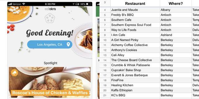 eat okra app, spreadsheet, black owned restaurants