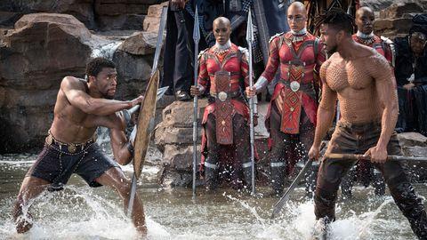 Scene from Marvel's Black Panther starring Chadwick Boseman and Michael B. Jordan